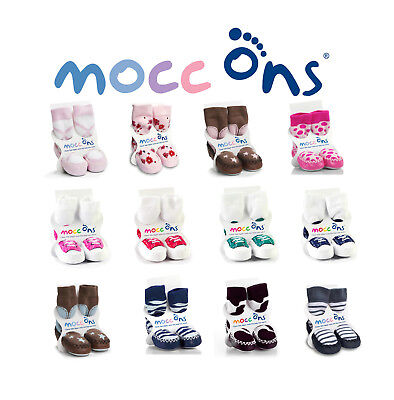 Mocc Ons Baby/Toddler Moccasin Slipper Socks With Leather Soles - 6-12 Months • 11.99£