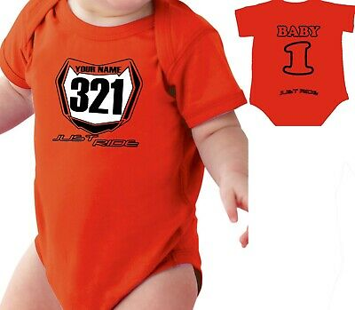 £20.61 • Buy Motocross Baby Number Plate One Piece Shirt Infant Mx Just Ride Ktm Sx Orange