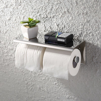 AU29.99 • Buy Toilet Paper Holder Double Roll Tissue Towel Rack Storage Shelf Stainless Steel