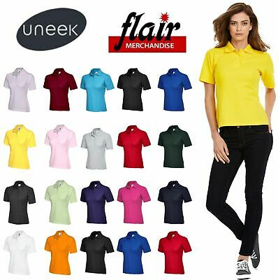 Uneek Ladies Polo Shirt, Active Classic Fit Work Wear Top Women's Polo 220gsm • 4.48£