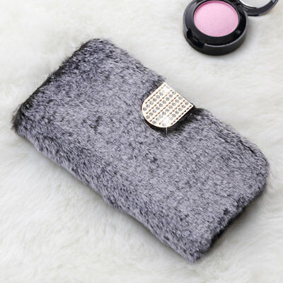 Bling Diamond Leather Fluffy Faux Fur Soft Flip Case Cover For IPhone 7 8 Plus X • 7.99£