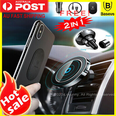 AU39.98 • Buy Baseus Qi Wireless Charger Magnetic Car Phone Holder IPhone XS 11 Pro Samsung