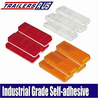 AU12.50 • Buy 12 X Mixed Red Amber White Reflector 85mm X 22mm Self Adhesive Trailer Caravan