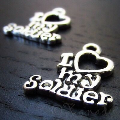 Love My Soldier Antique Silver Plated Military Charm C2302 - 10, 20 Or 50PCs • 1.94£