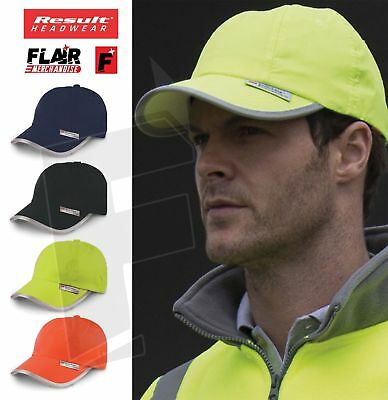 Result Headwear Hi-Vis Cap Reflective Visibility Safety Baseball Hat PPE • 7.98£