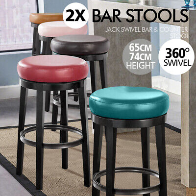 AU119.99 • Buy 2x Levede PU Leather Swivel Bar Stool Kitchen Stool Dining Chair Wooden Barstool