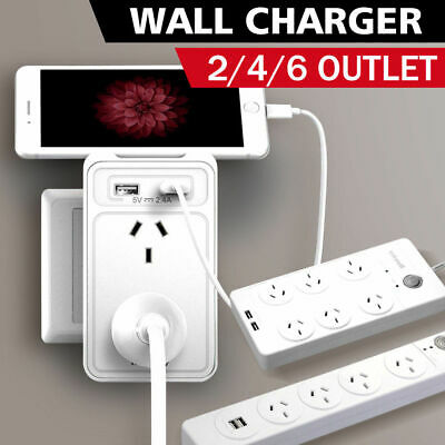AU18.99 • Buy Huntkey Power Board 2/4/6 Outlet Surge Protected With Dual USB Charging Ports