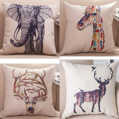 18  Vintage Linen Cotton Cushion Cover Throw Pillow Case African Animal Print • 5.99£