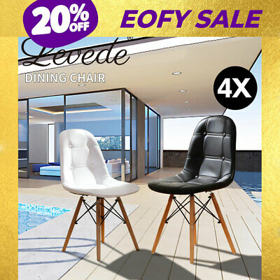 AU189.99 • Buy Levede 4x Retro Dining Chairs Leather Padded Seat Home Office Cafe Chair