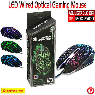 AU19.99 • Buy USB Wired LED Illuminated Wired Optical Gaming Mouse Pro Gamer For PC Laptop AU
