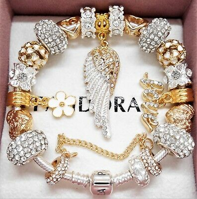 AU145.65 • Buy Authentic Pandora Charm Bracelet With Gold Angel Wing Crystal European Charms.
