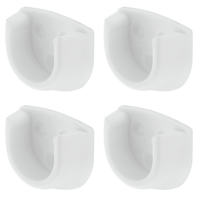 £1.99 • Buy 4x White Rail End Supports Brackets Oval Wardrobe Rails Poles 20mm (4 = 2 Pairs)