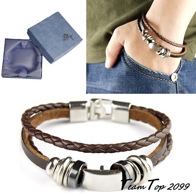 Mens Women Leather Bracelet Clasp Wristband Friendship Birthday Gift +Box #4BR • 3.99£