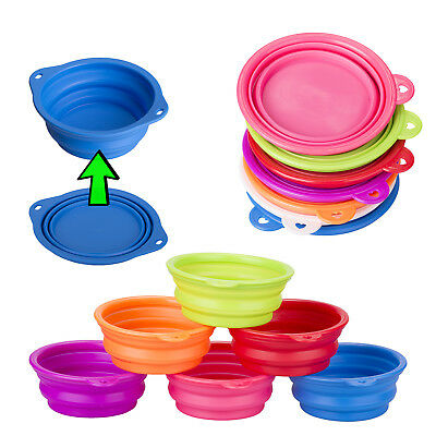 Collapsible Pet Dog Cat Feeding Bowl Pop Up Compact Travel Silicone Dish Feeder • 3.99£