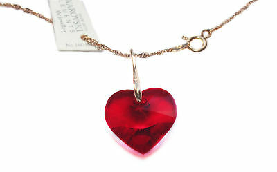 Ah! Jewellery® 18mm Red Siam Heart Genuine Crystal From Swarovski® Rose Necklace • 15.99£