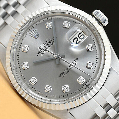 $ CDN5300.40 • Buy Mens Rolex Datejust Gray Diamond Dial 18k White Gold & Stainless Steel Watch