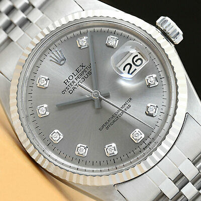 $ CDN5301.66 • Buy Mens Rolex Datejust Gray Diamond Dial 18k White Gold & Stainless Steel Watch