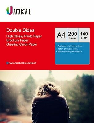 £21.99 • Buy 200Sheets A4 Thin Double Side High Glossy 140Gsm Photographic Paper Inkjet Paper