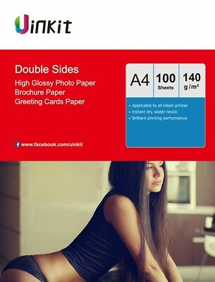 £11.59 • Buy A4 Thin 140Gsm Double Sides High Glossy Inkjet Paper Photo Paper -100 Sheets