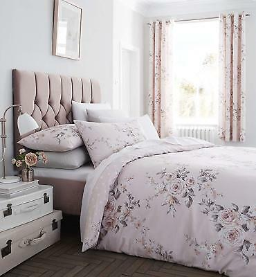 £18.99 • Buy Catherine Lansfield Canterbury Blush Glitter Print Duvet Cover Set Or Curtains
