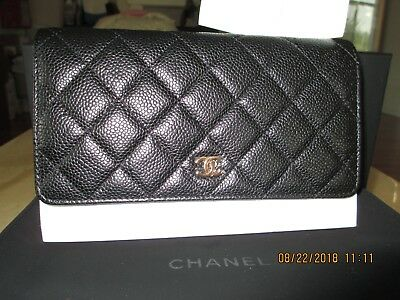 5e7676353e4c NWT 100% Authentic Chanel Caviar With Gold Hardward Wallet On Chain WOC  Black • 2,700.00