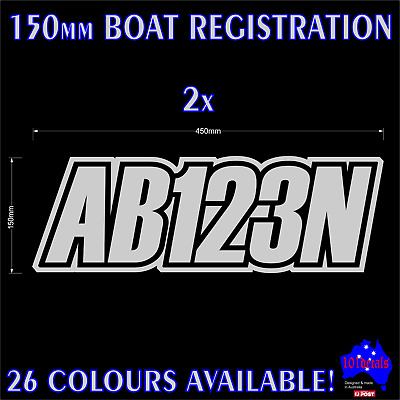 AU29.90 • Buy 2x150mm Fishing Boat REGISTRATION Rego Numbers Lettering Marine Decals Stickers