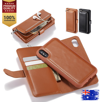 AU10.99 • Buy For IPhone XR 8 Plus Magnetic Zipper Leather Card Holder Flip Wallet Case Cover