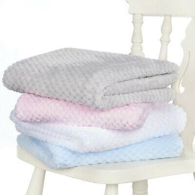 £5.99 • Buy E&A Distribution Baby Waffle Fleece Knitted Cot Pram 75 X 90 Cm Blanket Wrap