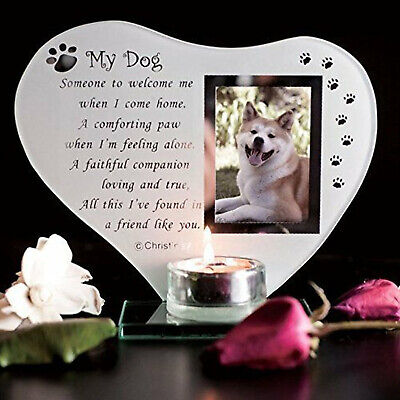 Special Dog Memorial Plaque Grave Ornament Candle Glass Photo Frame With Poem • 12.46£