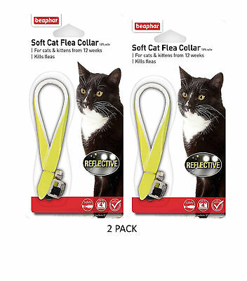 Beaphar REFLECTIVE Cat Flea Collar, Collars With Bell, Yellow Twin Pack • 6.34£