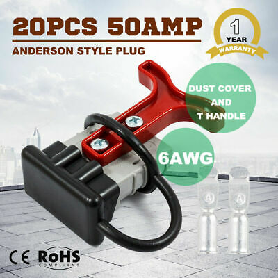AU49.99 • Buy 20PCS 6AWG Anderson Style Plug T Handle Dust Cover Trailer 12V 24V 50 AMP