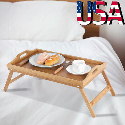 $14.52 • Buy Folding Legs Bamboo Bed Tray Table Serving Breakfast Laptop Computer Tray Home