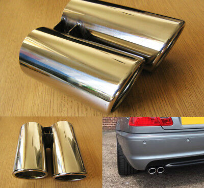 £34.37 • Buy Chrome Steel Twin Exhaust Tip 60mm Double Tail Pipe Sports Oval Trim E46 Style