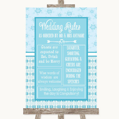 Wedding Sign Poster Print Winter Blue Rules Of The Wedding • 8.29$