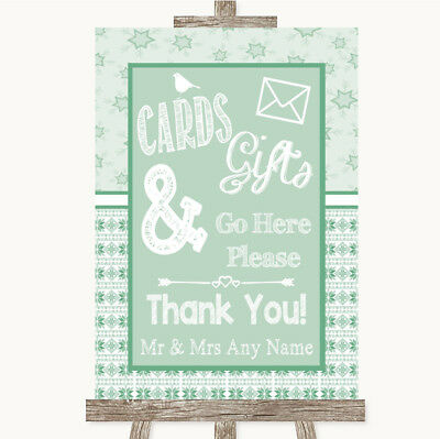 Wedding Sign Poster Print Winter Green Cards & Gifts Table • 8.29$