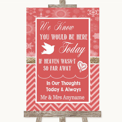 Wedding Sign Poster Print Red Winter Loved Ones In Heaven • 8.29$