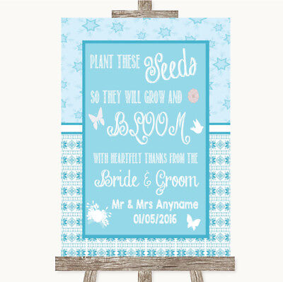 Wedding Sign Poster Print Winter Blue Plant Seeds Favours • 8.29$
