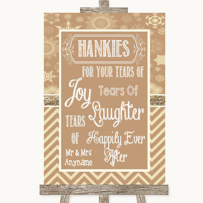 Wedding Sign Poster Print Brown Winter Hankies And Tissues • 8.29$