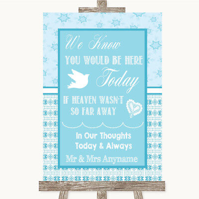 Wedding Sign Poster Print Winter Blue Loved Ones In Heaven • 8.29$