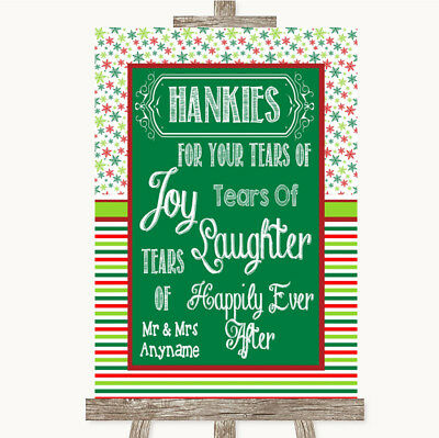 Wedding Sign Poster Print Red & Green Winter Hankies And Tissues • 8.29$