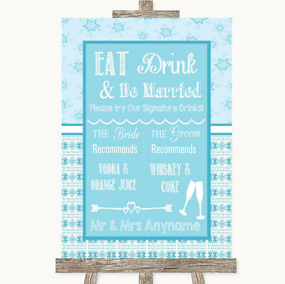 Wedding Sign Poster Print Winter Blue Signature Favourite Drinks • 8.29$