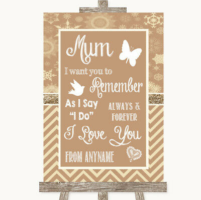 Wedding Sign Poster Print Brown Winter I Love You Message For Mum • 8.29$