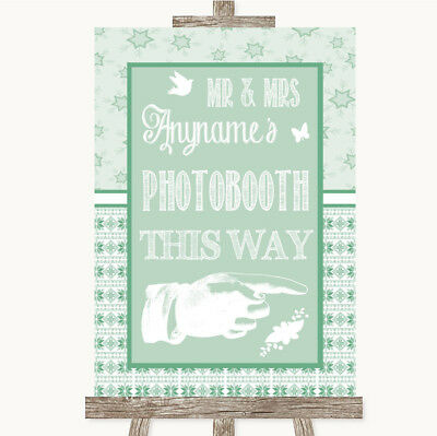 Wedding Sign Poster Print Winter Green Photobooth This Way Right • 8.29$