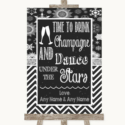 Wedding Sign Poster Print Chalk Winter Drink Champagne Dance Stars • 8.29$
