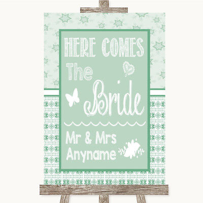 Wedding Sign Poster Print Winter Green Here Comes Bride Aisle Sign • 8.29$