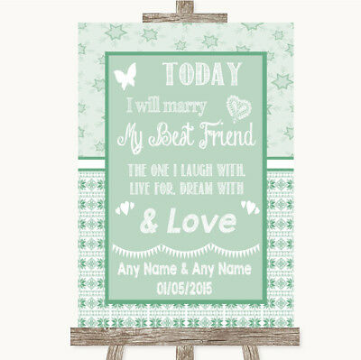 Wedding Sign Poster Print Winter Green Today I Marry My Best Friend • 19.99$
