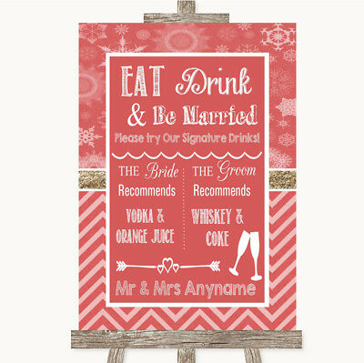 Wedding Sign Poster Print Red Winter Signature Favourite Drinks • 8.29$