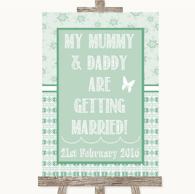 Wedding Sign Poster Print Winter Green Mummy Daddy Getting Married • 8.29$