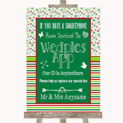 Wedding Sign Poster Print Red & Green Winter Wedpics App Photos • 8.29$