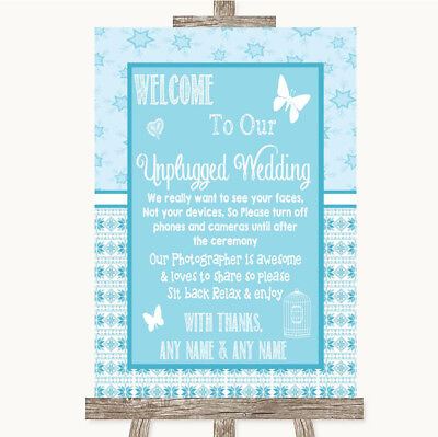 Wedding Sign Poster Print Winter Blue No Phone Camera Unplugged • 8.29$